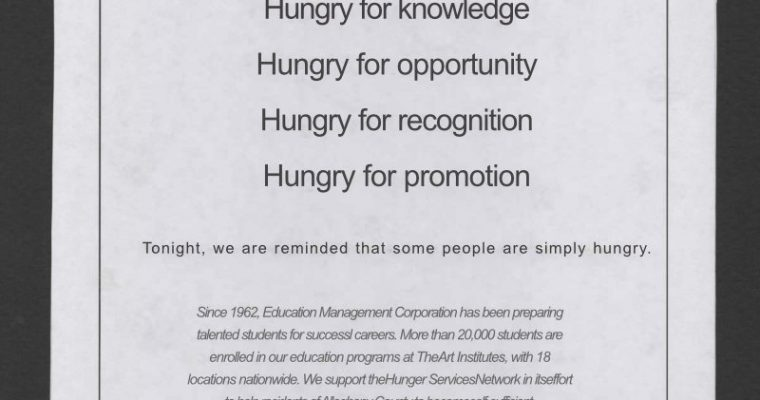 Hunger Services Network Fundraiser Booklet Print Ad